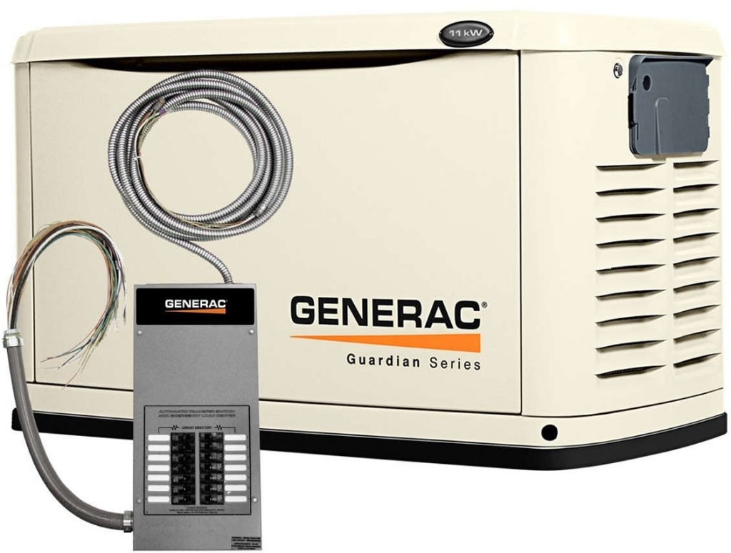 Generac Guardian 6237 8kW Generator with 50A 10-circuit Transfer Switch